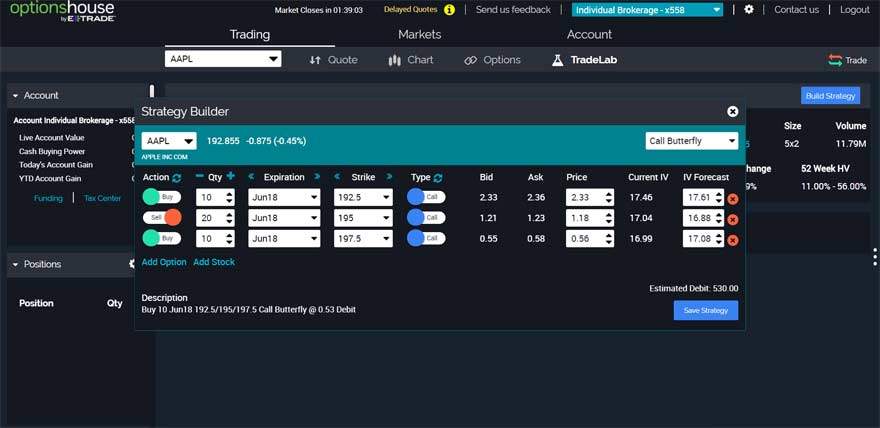 E-trade optionshouse dashboard screenshot